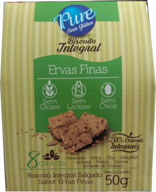 Biscoito Integral Sabor Ervas Finas Pure 50g R$2,94